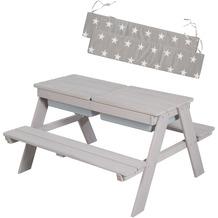 Roba Kindersitzgarnitur mit Spielwannen & Sitzkissen, wetterfeste Massivholz-Garnitur & Matschtisch