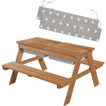 Roba Kindersitzgarnitur Outdoor+ mit Spielwannen & Sitzkissen, wetterfest, Massivholz, Matschtisch