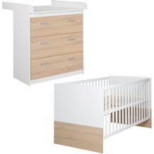 Roba Kinderzimmerset 'Gabriella', 2-teiliges Babymöbel-Set bicolor aus Babybett 70x140cm & Wickelkommode