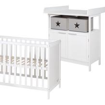 Roba roba Kinderzimmerset mit Wickelkommode Hamburg inkl. Lattenrost, Liegefläche 60x120 cm, weiß