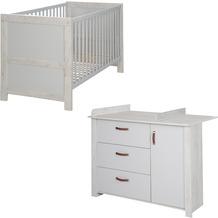 Roba Kinderzimmerset 'Mila', inkl. Baby-/Kinderbett 70 x 140 cm und Wickelkommode, grau/weiß