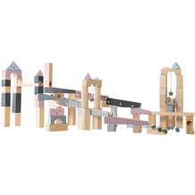 Roba Kugelbahn, Holzkugelbahn groß, 100-teilig, Murmelbahn, Motorikspielzeug variabel aufbaubar