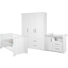 Roba Möbelset 'Maxi', inkl. Kombi-Bett 70 x 140 cm, Wickelkommode und 3-türigem Kleiderschrank, weiß