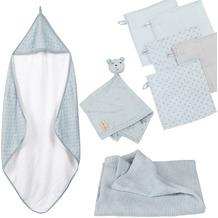 Roba organic Geschenkset 'Lil Planet' hellblau/sky, Handtuch, Waschlappen, Schmusetuch & Decke, GOTS