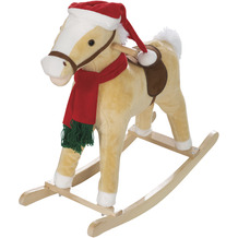 Roba Schaukelpferd, mit Weihnachtsmütze & Schal, gepolstert, Sattel, Sound, 63x31x73cm, ab 24 Monate