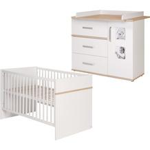 Roba SET 'Pia', 2-tlg, inkl. Kombi-Bett 70 x 140 cm und breiter Wickelkommode, weiß/'Sanremo Eiche'