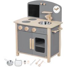 Roba Spielküche grau/natur, mit 2 Kochstellen, Spüle, Wasserhahn & Zubehör