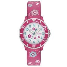 s.Oliver Armbanduhr MIT GRAVUR (z.B. Namen) SO-2990-PQ Uhr für Mädchen pink/rosa mit Blümchen