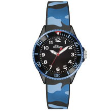s.Oliver Armbanduhr MIT GRAVUR (z.B. Namen) SO-3109-PQ blau/schwarz Tarnfarben Camouflage