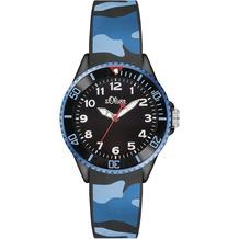 s.Oliver Armbanduhr SO-3109-PQ blau/schwarz Tarnfarben Camouflage