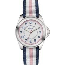 s.Oliver Armbanduhr SO-3133-LQ Mädchenuhr blau/weiß/rosa Uhr für Mädchen Kinderuhr