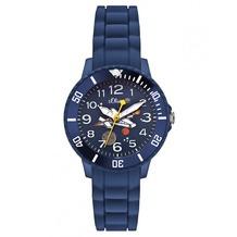 s.Oliver Silikonarmbanduhr Kids SO-2590-PQ blau Kinder-Uhr für Mädchen & Jungen Weltraum
