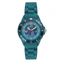 s.Oliver Armbanduhr SO-2597-PQ grün Mädchenuhr oder Damenuhr mit Silikonarmband
