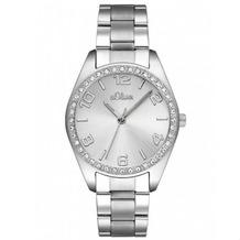 s.Oliver Damen-Armbanduhr MIT GRAVUR (z.B. Namen) SO-2276-MQ silber Damenuhr Frauen-Uhr