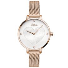 s.Oliver Damen-Armbanduhr MIT GRAVUR (z.B. Namen) SO-3473-MQ für Frauen mit Herz Farbe: Roségold