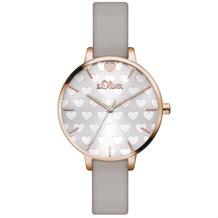 s.Oliver Damen-Armbanduhr MIT GRAVUR (z.B. Namen) SO-3475-LQ Graues Armband für Frauen mit Herzchen