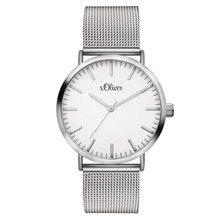 s.Oliver Damenuhr MIT GRAVUR (z.B. Namen) SO-3145-MQ silber Uhr Damen Armbanduhr