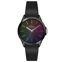 s.Oliver Damenuhr MIT GRAVUR (z.B. Namen) SO-3197-PQ schwarz Uhr Damen Armbanduhr