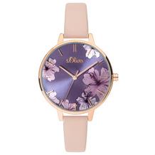 s.Oliver Damenuhr MIT GRAVUR (z.B. Namen) SO-3778-LQ Damen Armbanduhr rosa