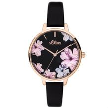 s.Oliver Damenuhr MIT GRAVUR (z.B. Namen) SO-3779-LQ Damen Armbanduhr rosé, schwarz