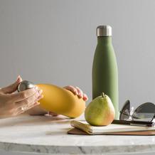 sagaform Trinkflasche 0.5 l, olivgrün gummiert