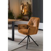 SalesFever Armlehnstuhl mit 360° Drehfunktion Gold, Schwarz 395660