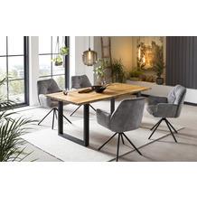 SalesFever Armlehnstuhl mit 360° Drehfunktion Grau, Schwarz 395707