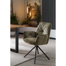 SalesFever Armlehnstuhl mit 360° Drehfunktion Grün, Schwarz 395677