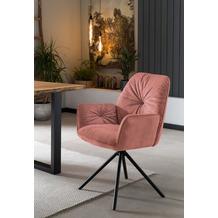 SalesFever Armlehnstuhl mit 360° Drehfunktion Rose, Schwarz 395691