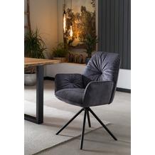 SalesFever Armlehnstuhl mit 360° Drehfunktion Schwarz 395684