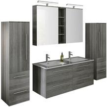 SalesFever Badezimmer Set 120 cm, 4 tlg. Holzwerkstoff (MDF), Glas Eiche Grau 395141