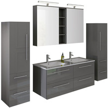 SalesFever Badezimmer Set 120 cm, 4 tlg. Holzwerkstoff (MDF), Glas Grau Hochglanz 395134
