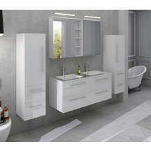 SalesFever Badezimmer Set 120 cm, 4 tlg. Holzwerkstoff (MDF), Glas Weiß Hochglanz 389683
