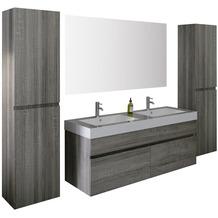 SalesFever Badezimmer Set 140 cm, 4 tlg. Holzwerkstoff (MDF), Glas Eiche Grau 395110