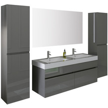 SalesFever Badezimmer Set 140 cm, 4 tlg. Holzwerkstoff (MDF), Glas Grau Hochglanz 395127