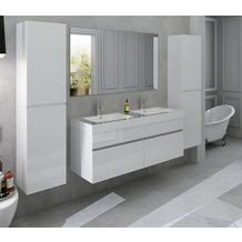 SalesFever Badezimmer Set 140 cm, 4 tlg. Holzwerkstoff (MDF), Glas Weiß 389690