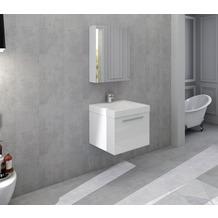 SalesFever Badezimmer Set 50 cm, 2 tlg. Holzwerkstoff (MDF), Glas Weiß Hochglanz 389713