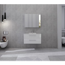 SalesFever Badezimmer Set 90 cm, 2 tlg. Holzwerkstoff (MDF), Glas Weiß Hochglanz 392126