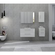 SalesFever Badezimmer Set 90 cm, 4 tlg. Holzwerkstoff (MDF), Glas Weiß Hochglanz 392164
