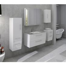 SalesFever Badezimmer Set 90 cm, 5 tlg. Holzwerkstoff (MDF), Glas Weiß Hochglanz 389706