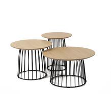 SalesFever Beistelltisch 3er Set +A+ Holz, Metall Natur, schwarz 375358