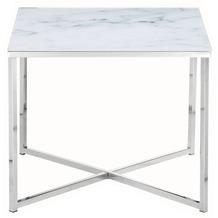 SalesFever Beistelltisch 50x50x42 cm Metall, Glas Weiß, Chrom 394786