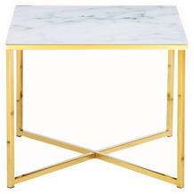 SalesFever Beistelltisch 50x50x42 cm Metall, Glas Weiß, Gold 394793