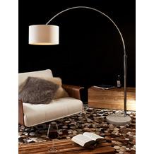 SalesFever Bogenlampe 210 cm schwarz Dimmerungsschalter, Ø Lampenschirm 35 cm, echter Marmorfuß