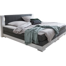 SalesFever Boxspringbett 180 x 200 cm LED grau/weiß Kunstleder