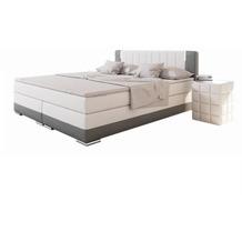SalesFever Boxspringbett 180 x 200 cm LED weiß/grau Kunstleder