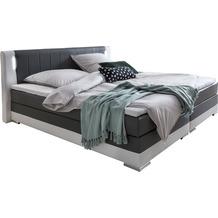 SalesFever Boxspringbett 200 x 200 cm LED grau/weiß Kunstleder