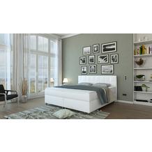 SalesFever Boxspringbett 200x200 cm LED Kunstleder Weiß 382103