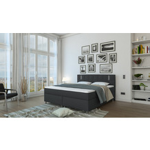 SalesFever Boxspringbett 200x200 cm LED Textil Grau 382141