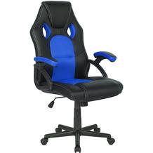 SalesFever Bürostuhl Kunstleder schwarz mit Netzeinsatz blau